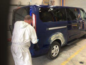 Transit wheel arch repair getting prepared for painting